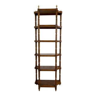 Neoclassical Style Mahogany and Brass Etagere Bookshelf For Sale