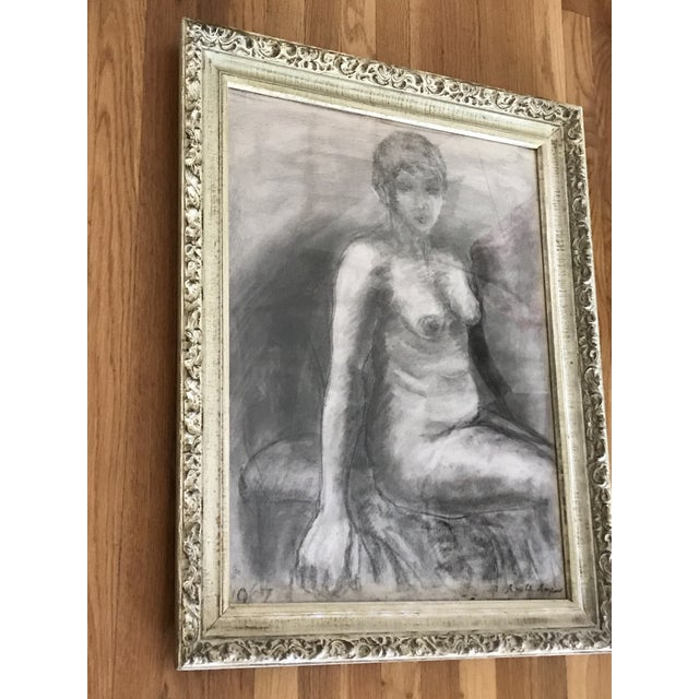 Mid-Century Framed Charcoal Nude Sketch For Sale In Los Angeles - Image 6 of 10