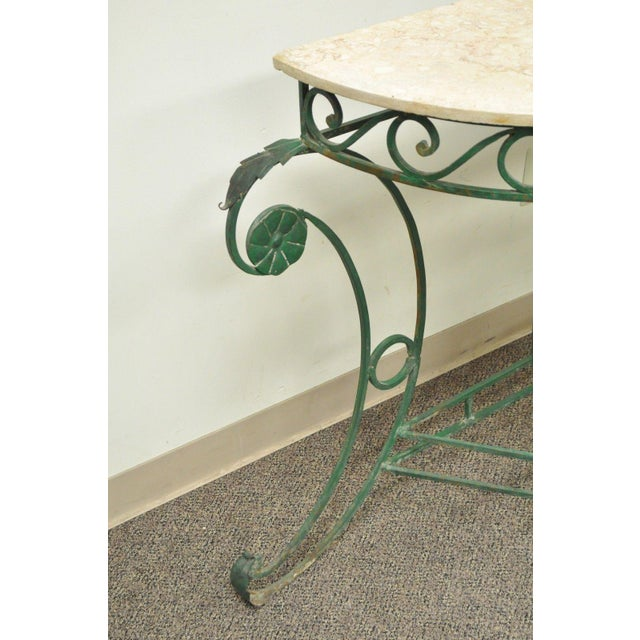 "65"" W Ornate Italian Regency Style Green Wrought Iron Marble Top Console Table - Image 7 of 11"