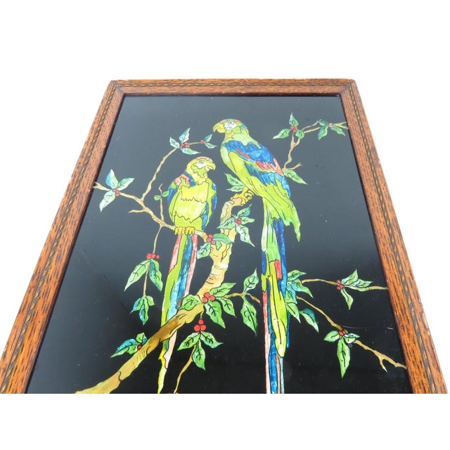 Antique Americana Folk Art Tinsel Painting of Tropical Birds For Sale In Chicago - Image 6 of 9