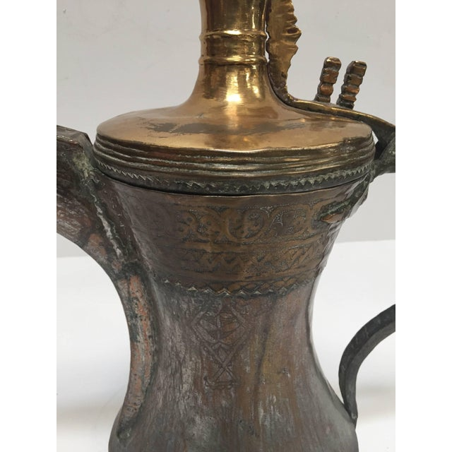 Red 19th Century Middle Eastern Oversized Arabic Bedouin Copper Dallah Coffee Pot For Sale - Image 8 of 10