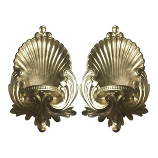 1990s Hollywood Regency Shell & Acanthus Leaf Gilt Plaster Wall Bracket Sconces - a Pair For Sale