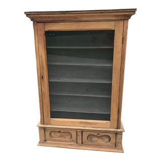 Antique Primitive European French Wood Wall Storage Display Cabinet For Sale