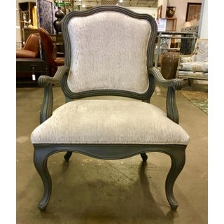 Ferguson Copeland French Style Gray and White Scalloped Carved Armchairs Pair Preview