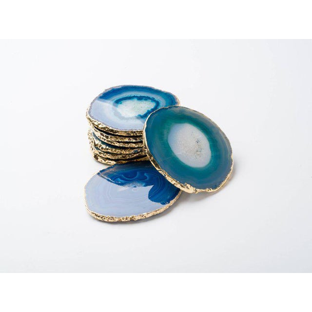 Set of Eight Semi-Precious Teal Gemstone Coasters in Wrapped in 24-Karat Gold For Sale - Image 11 of 11