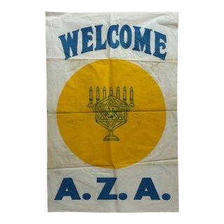 1960 Vintage American Zionist Alliance Hanging Banner / Flag For Sale