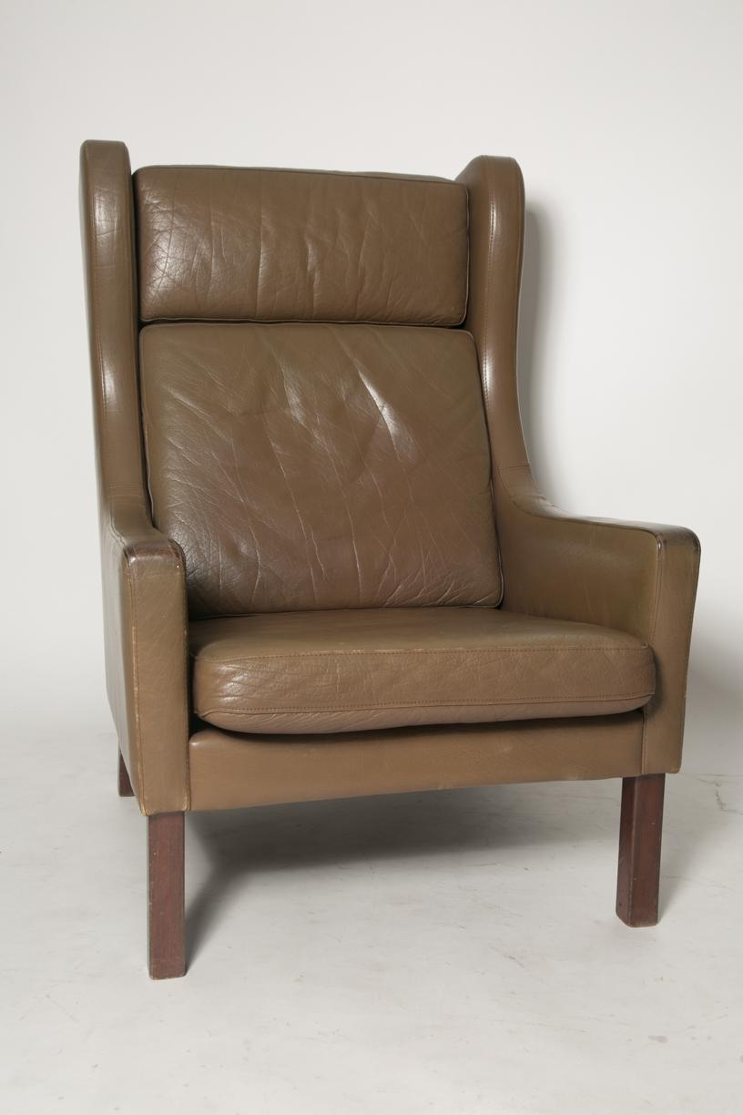 Contemporary Borge Mogensen Wingback Chairs   Set Of Two For Sale   Image 3  Of 7