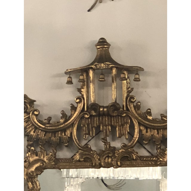 Asian Vintage Chinoiserie Italian Labarge Carved Wood Pagoda Bells Wall Mirror For Sale - Image 3 of 13
