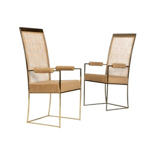 Milo Baughman for Thayer Coggin Cane Back Arm Chairs - Pair