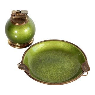 Vintage Green Enamel & Brass Evans Table Lighter & Ashtray Set - a Pair For Sale