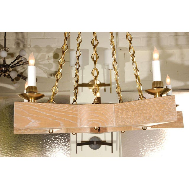 Paul Marra Paul Marra Star Chandelier in Oak For Sale - Image 4 of 10