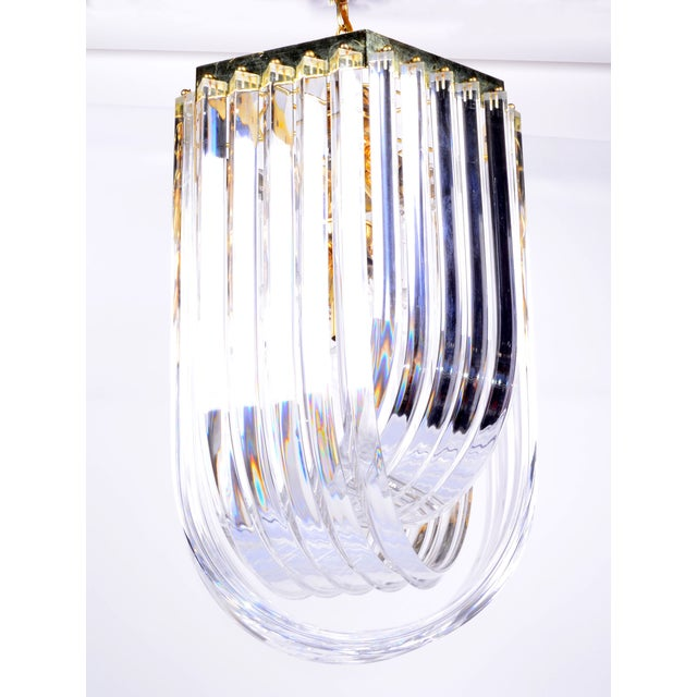Mid-Century Modern Lucite Ribbon Chandelier With Canopy For Sale - Image 3 of 11