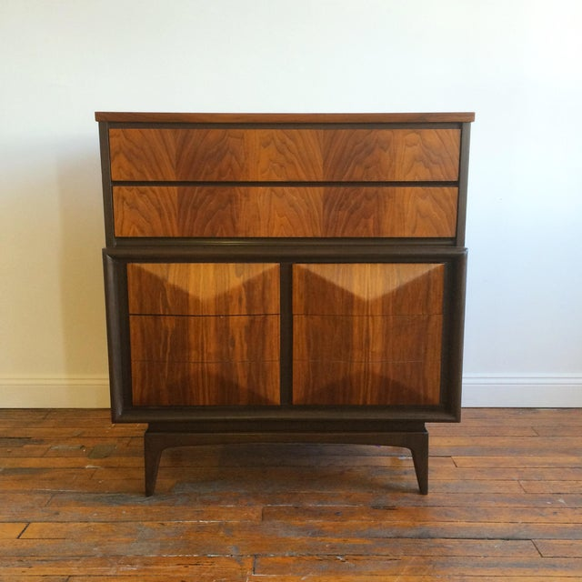 Handsome highboy dresser / chest of drawers by Vladimir Kagan for United Furniture with iconic diamond-shaped drawers!...