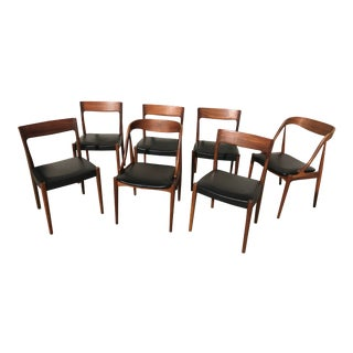 Vintage Mid Century Swedish Black Walnut Dining Chairs- Set of 7 For Sale