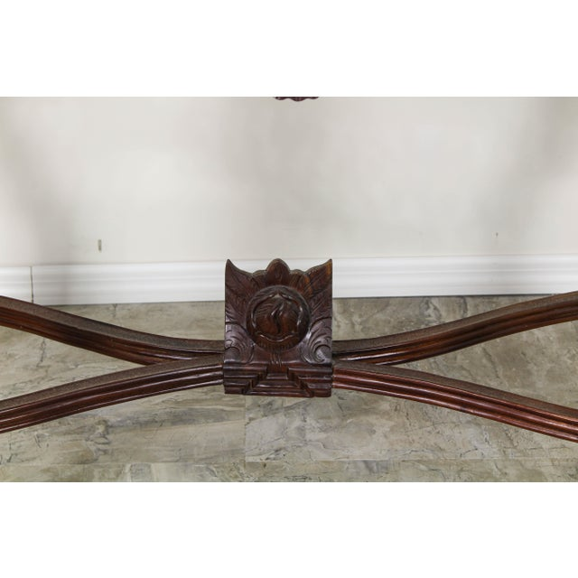 1980s Traditional Carved Wood Console Table, Vintage Carved Wood Console For Sale - Image 5 of 10
