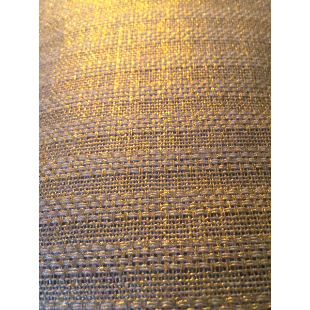 This incredibly special wide width metallic gold linen blend woven fabric by Designers Guild is the true definition of...