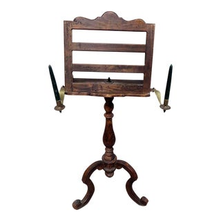 18th C. Antique Wooden Music Stand with Candle Holders For Sale