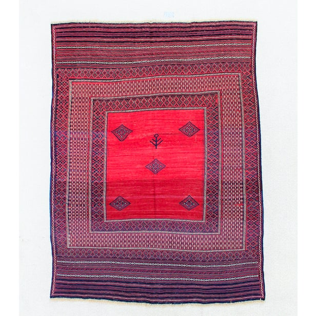 This vintage Turkish Kilim rug measures 6'W x 7'L. Shades of blue and red are woven to create a gorgeous center with a...