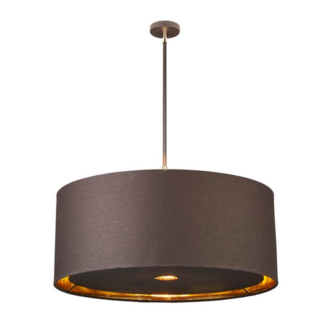 Brown/Polished Brass Balance fittings feature fabric shades with a gold metallic lining and acrylic diffuser for bright,...