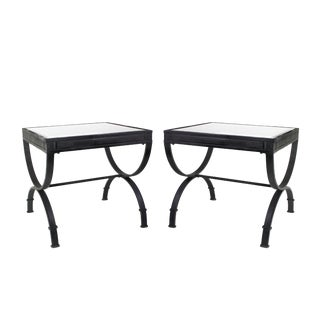 Indoor/Outdoor Matte Black Finished Steel Table Pair With Glass Tops For Sale