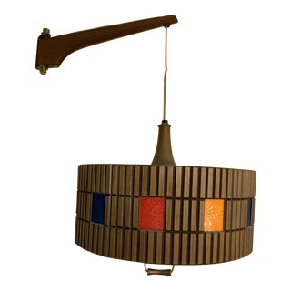 1960s Mid-Century Modern Pulley Weighted Drum Teak Wood Colored Tile Swag Lamp For Sale