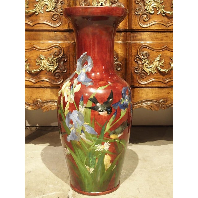 Grand Antique French Barbotine Vase, Parisian School Late 1800s For Sale - Image 12 of 12