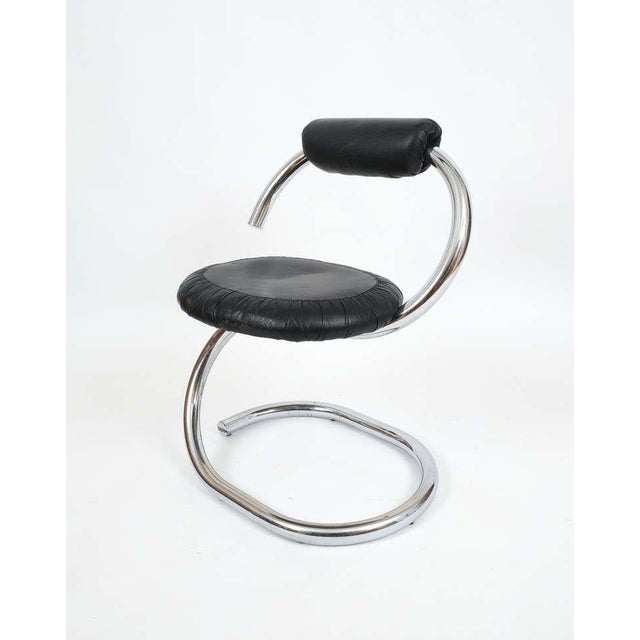 Giotto Stoppino Set of Four Italian Leather Chrome Spiral Chairs by Stoppino For Sale - Image 4 of 10