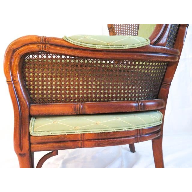 English Traditional Green Upholstered Faux Bamboo Wingback Chair For Sale In Denver - Image 6 of 9
