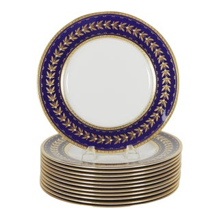 Edwardian Minton Tiffany & Co. Cobalt Blue and Gold Gilt Service Plates - Set of 12