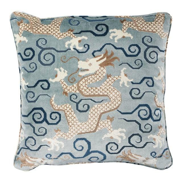 Schumacher Bixi Velvet Pillow in Celestine For Sale