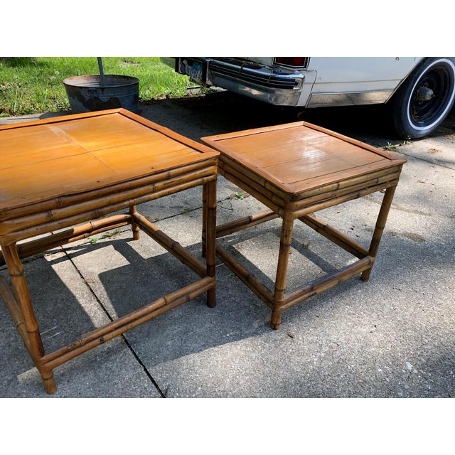 Mid 20th Century Mid 20th Century Cali- Asian Style Bamboo Nesting Tables - a Pairt For Sale - Image 5 of 9