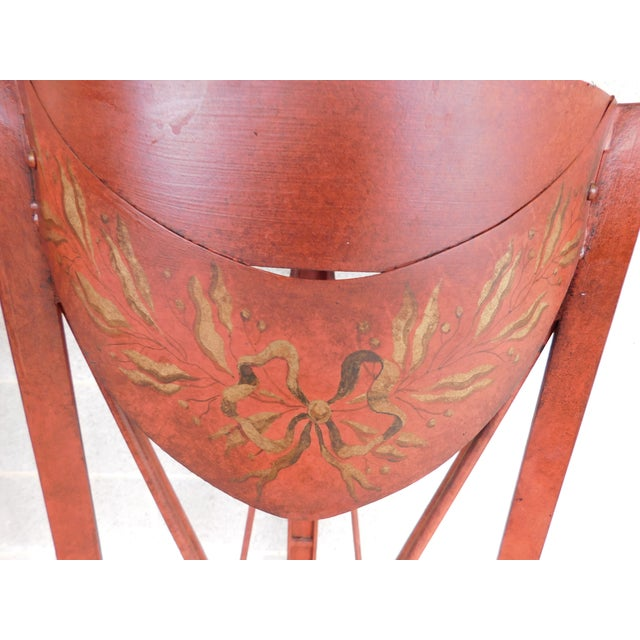 Metal French Directoire Style Paint Decorated Steel Plant Stands - a Pair For Sale - Image 7 of 10