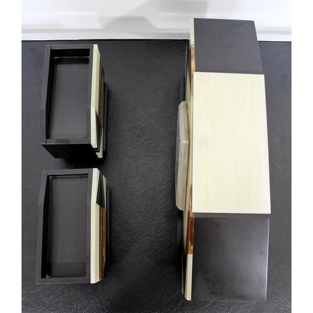 Early 20th Century Art Deco Nouveau Marble & Onyx Mantle Clock W Matching Bookends For Sale - Image 5 of 9
