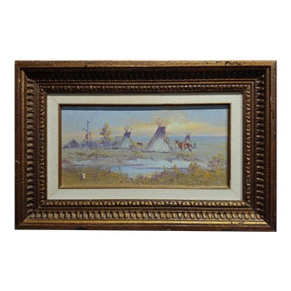 """Ace Powell View of an Indian Camp W/ """"Teepees"""" Oil Painting For Sale"""
