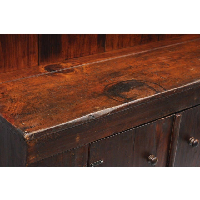 Antique Country Primitive Knotty Pine Cupboard Cabinet Sideboard Stepback Hutch For Sale - Image 9 of 12