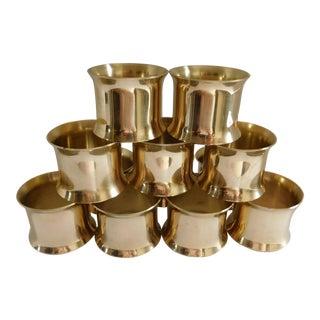 Solid Brass Vintage Napkin Rings - Set of 12 For Sale
