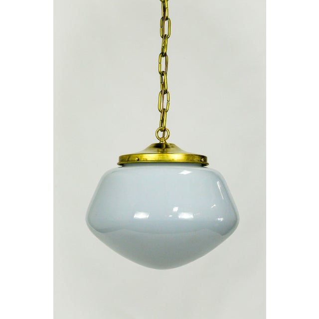 1970's Modern Schoolhouse Brass Pendant For Sale - Image 9 of 9