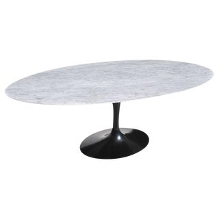 6.5 Ft Knoll Saarinen Oval Tulip Dining Table With Carrara Marble Top For Sale