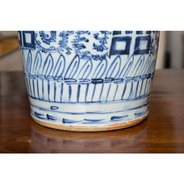 Late 19th Century Chinese Blue and White Happiness Vases - a Pair For Sale In West Palm - Image 6 of 8
