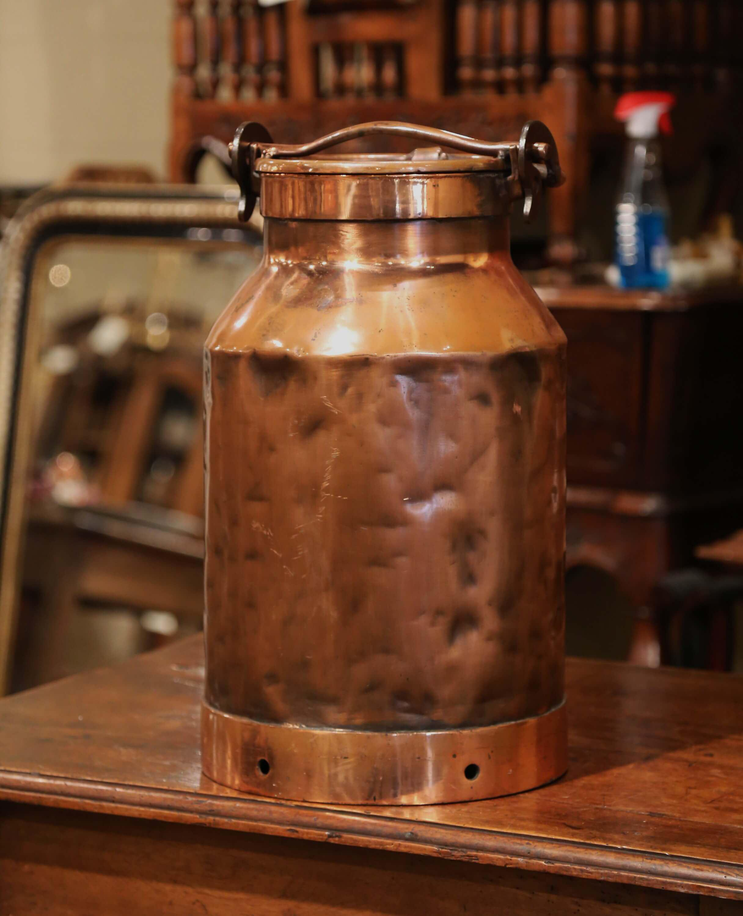 19th Century French Polished Copper Milk Container With Handle And
