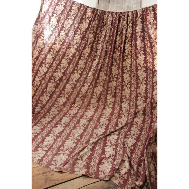 White Antique 1870s French Large Printed Cotton Madder Brown Passementerie Bed Curtain For Sale - Image 8 of 9