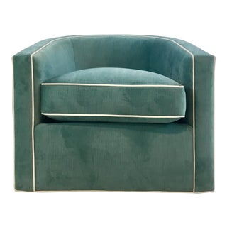 Hickory White Modern Turquoise Velvet Swivel Club Chair 5402-015 For Sale