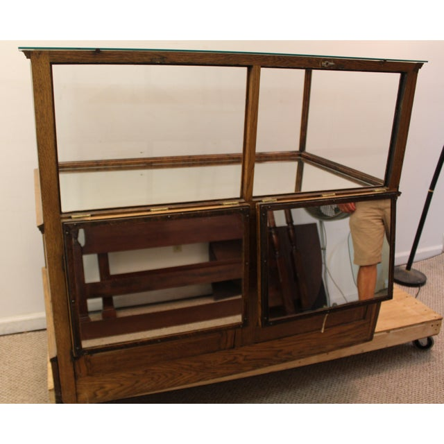 Antique Oak & Glass Mirrored Display Case - Image 10 of 11