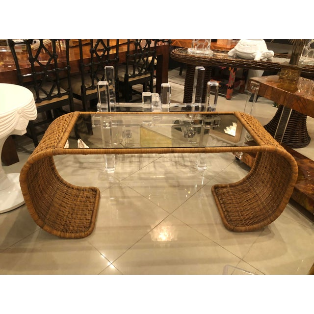 Vintage Scroll Natural Wicker Console Table For Sale In West Palm - Image 6 of 13
