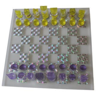 Mod Psychedelic Lucite Chess Set With Board For Sale