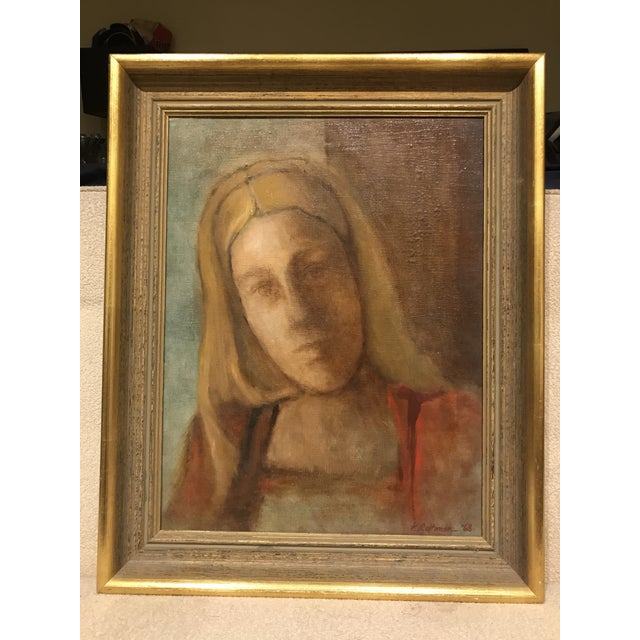 Mid-Century Lady Portrait Oil Painting - Image 2 of 6