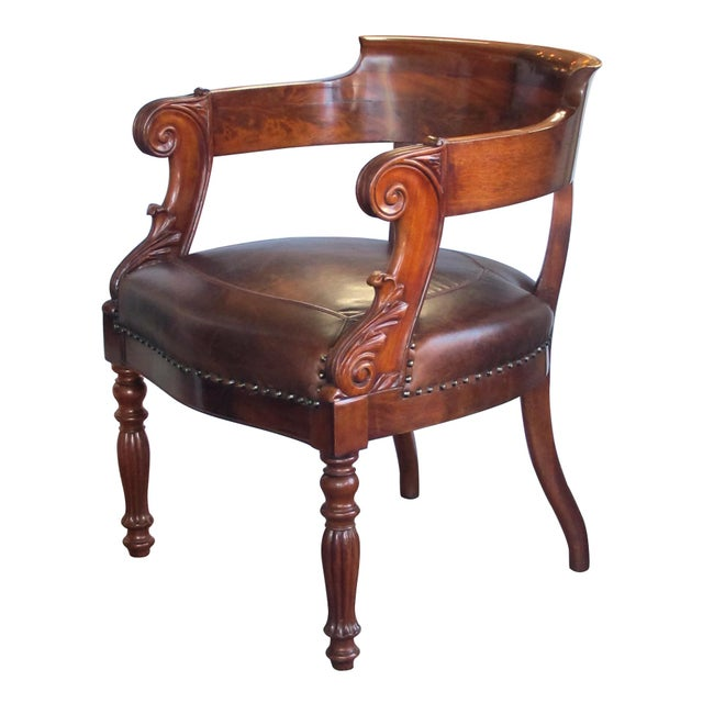 French Restoration Carved Mahogany Barrel-Back Desk Chair With Acanthus Leaves For Sale - Image 9 of 9