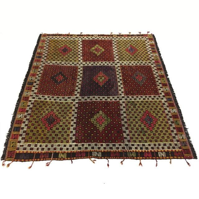 Mid 20th Century Vintage Turkish Embroidered Kilim | 5'5 X 5'7 For Sale - Image 5 of 5