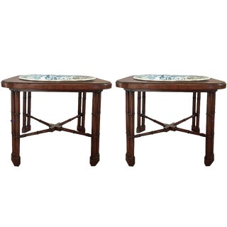 Antique Transfer Print Platters on Side Tables - a Pair