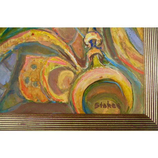 1970s 1970s Vintage Abstract Framed Painting For Sale - Image 5 of 6